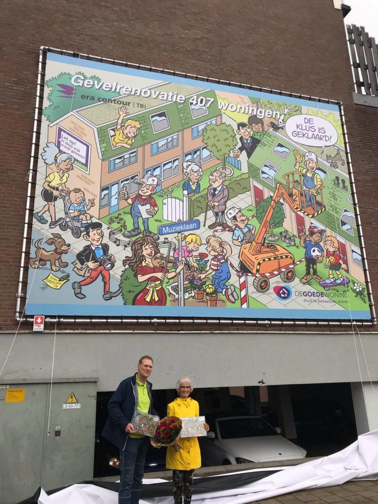 Kunstwerk aan de gevel ter ere opening verduurzaming 407 woningen Woondekken Rode buurt Zoetermeer